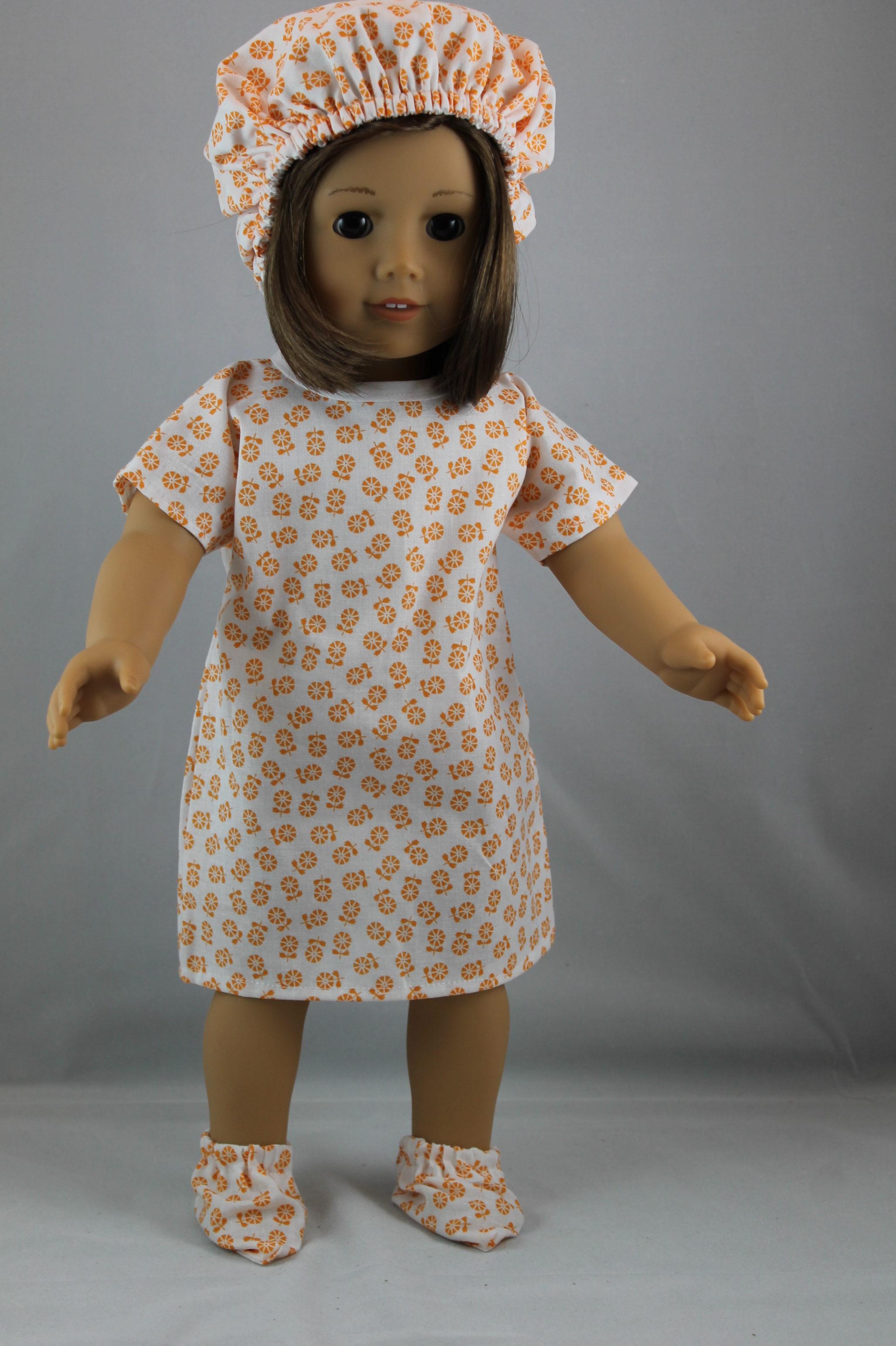 Hospital Gown Set American Girl Orange - Sew Cute Doll Clothes   Sew ...